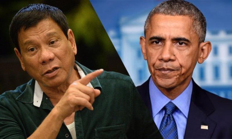 """Ông Duterte (trái) gọi ông Obama là """"đồ đáng ghét""""."""
