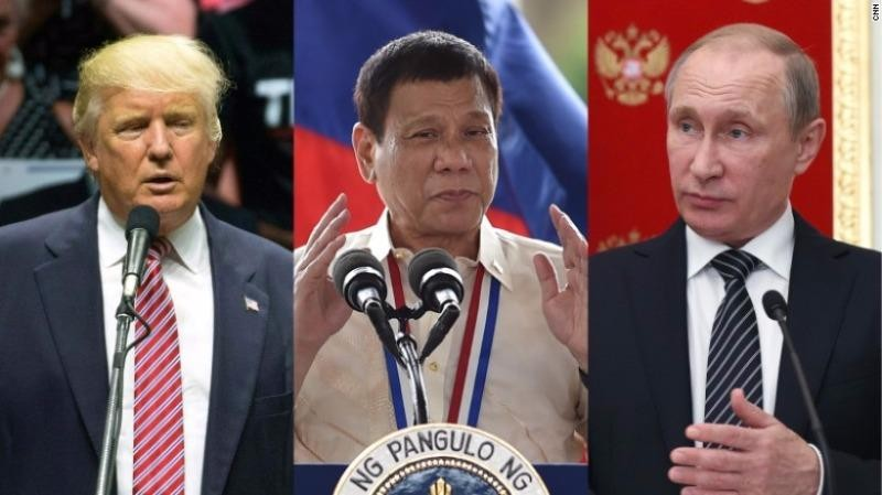 Ông Duterte (giữa) từng nói ông thích ông Putin (phải) hơn ông Obama, và được ví như là Trump (trái)-ứng viên tổng thống Mỹ-của châu Á.