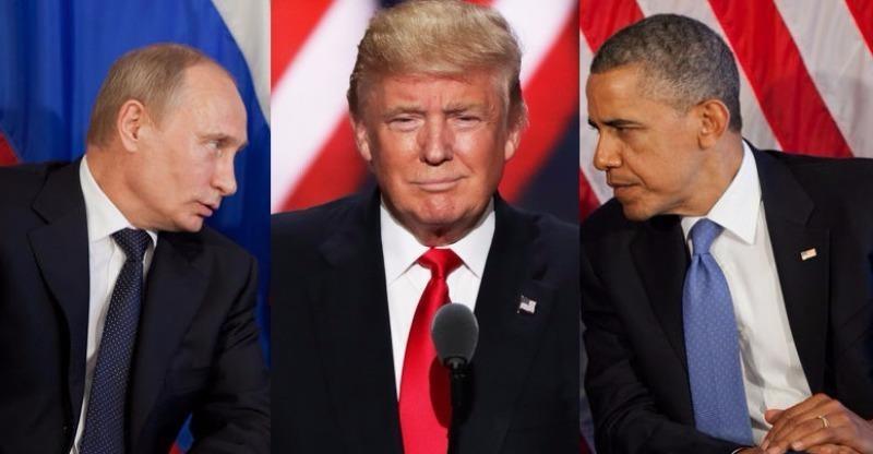 Ông Trump (giữa) khen ông Putin (trái) lãnh đạo đất nước tốt hơn ông Obama.