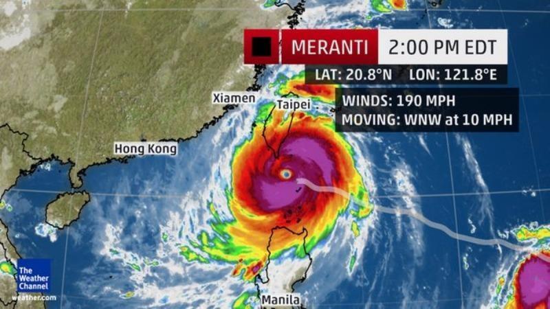 Siêu bão Meranti là siêu bão mạnh nhất trên thế giới kể từ sau siêu bão Hải Yến.