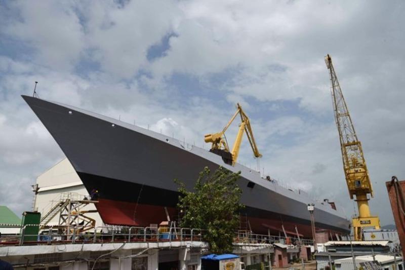 Tàu khu trục tàng hình INS Mormugao sẽ được hạ thủy vào ngày mai 17-9.