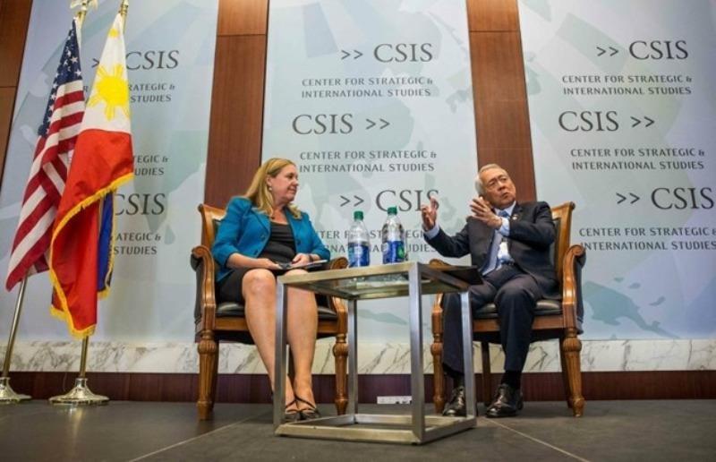 Ngoại trưởng Perfecto Yasay Jr. nói chuyện tại Trung tâm Nghiên cứu Chiến lược và Quốc tế (CSIS – Mỹ) ngày 15-9.
