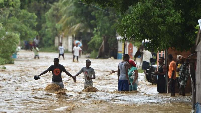 Bão Matthew gây lụt lớn ở thị trấn Leogane phía nam thủ đô Port-au-Prince (Haiti) ngày 5-10.
