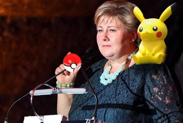 Nữ Thủ tướng NaUy Erna Solberg vừa họp vừa bắt Pokemon.