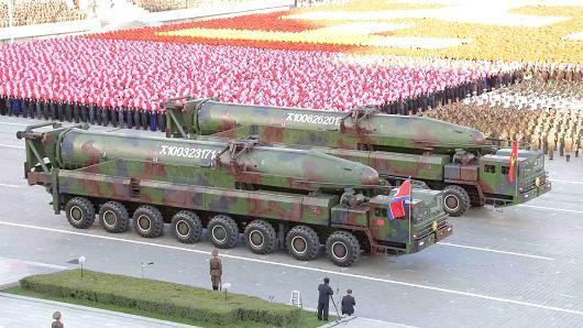 Quân đội Triều Tiên diễu binh mừng 70 năm thành lập đảng Lao động Triều Tiên năm 2015.