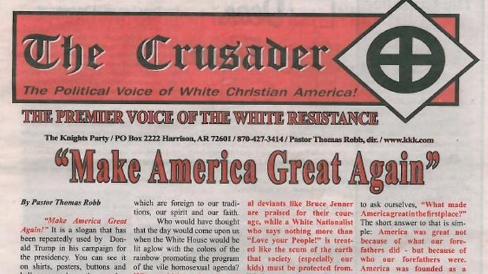 Thông điệp bầu cử của Trump được đăng ngay trên trang nhất tờ The Crusader của đảng 3K.