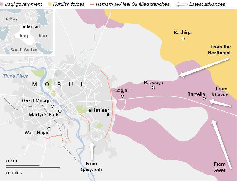 Bản đồ đà tiến cho thấy liên quân Iraq đã áp sát đầu não của IS ở Mosul. Màu hồng: quân đội Iraq; vàng: lực lượng tay súng người Kurd.