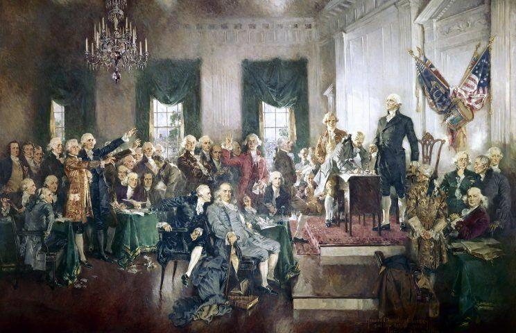 Lễ ký thông qua Hiến pháp Mỹ năm 1787 giữa George Washington, Benjamin Franklin và Thomas Jefferson.