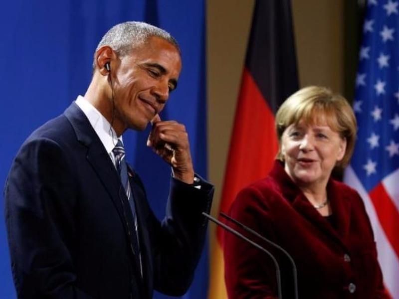 Tổng thống Obama và Thủ tướng Merkel trong cuộc họp báo chung tại Berlin ngày 17-11.