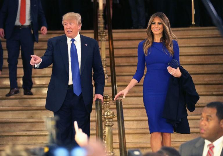 Bà Melania Trump cùng chồng là Tổng thống đắc cử Donald Trump.