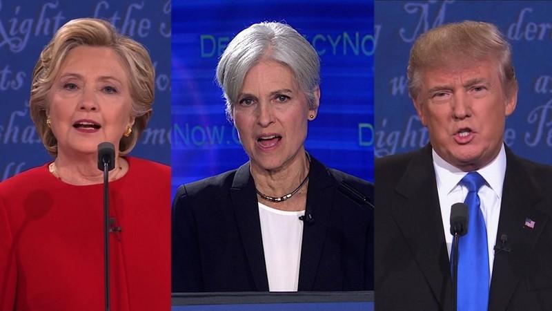 Từ trái qua: Bà Hillary Clinton, bà Jill Stein, ông Donald Trump.