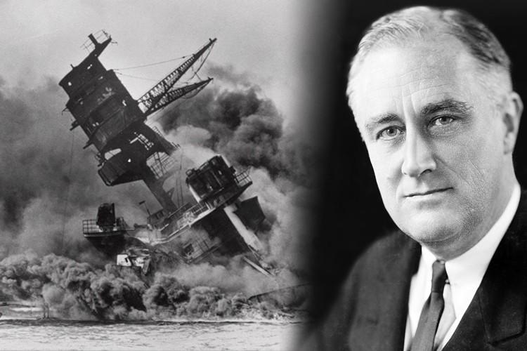 """Tổng thống Franklin D. Roosevelt gọi ngày Trân Châu Cảng bị tấn công là """"ngày ô nhục""""."""