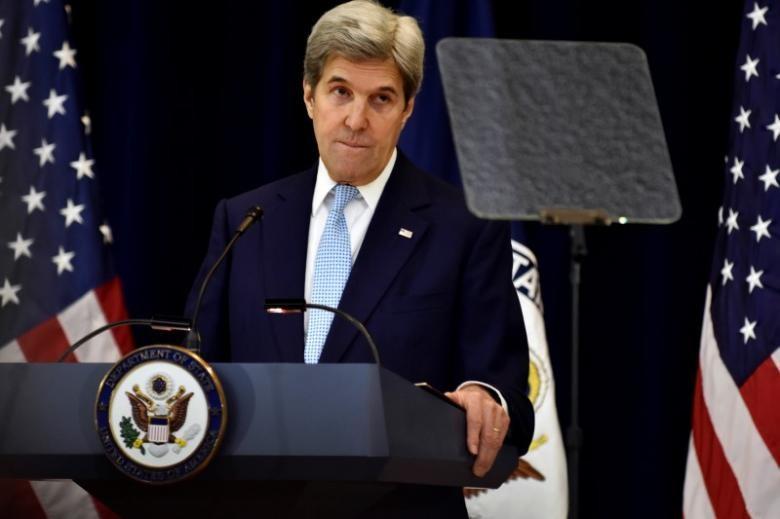 Ngoại trưởng Mỹ John Kerry phát biểu về hòa bình Trung Đông tại Bộ Ngoại giao ngày 28-12. Ảnh: REUTERS