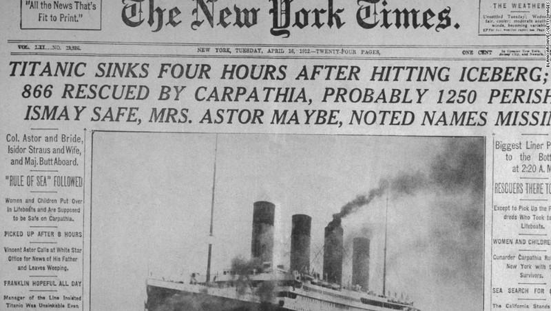 Sự kiện Titanic chìm trên báo Mỹ ngày 16-4-1912. Ảnh: CNN