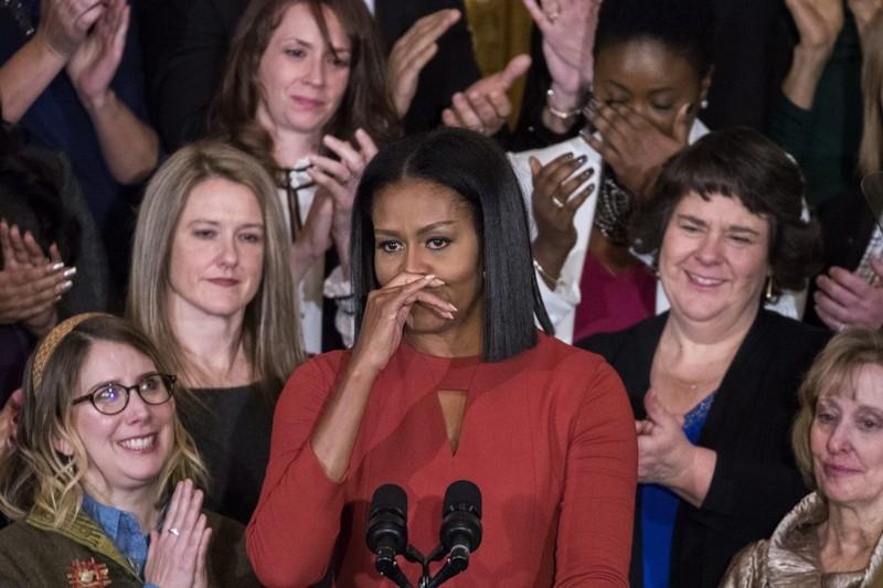 Đệ nhất phu nhân Mỹ Michelle Obama trong lần phát biểu chính thức cuối cùng tại Nhà Trắng ngày 6-1. Ảnh: GETTY IMAGES