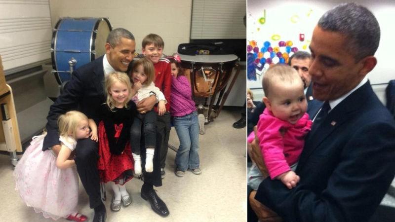 Tổng thống Obama gặp gỡ em của các nạn nhân. Ảnh: REDIT