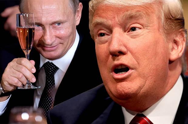 Tổng thống Nga Vladimir Putin (trái) bị tình báo Mỹ cáo buộc cố tình giúp ông Trump (phải) thắng cử. Ảnh: INTERNET