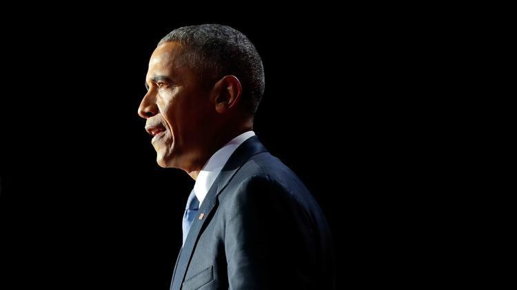 Tổng thống Obama phát biểu chia tay tại Chicago. Ảnh: AP