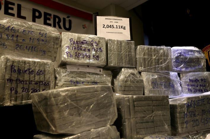 Cảnh sát Peru tịch thu hơn 2 tấn cocaine. Ảnh: REUTERS