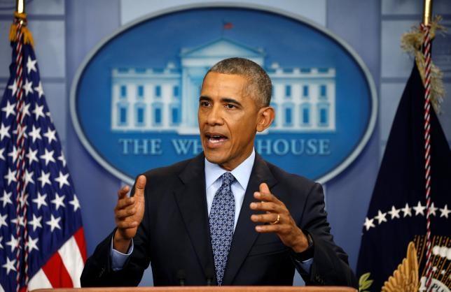 Tổng thống Barack Obama họp báo lần cuối tại Nhà Trắng ngày 18-1, hai ngày trước khi mãn nhiệm. Ảnh: REUTERS