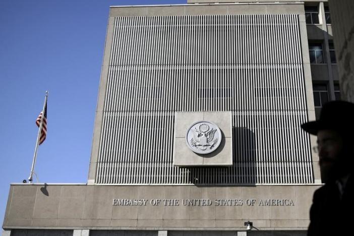 Đại sứ quán Mỹ ở Tel Aviv (Israel) ngày 20-1. Ảnh: REUTERS