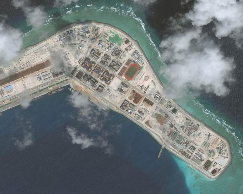 Đá Subi thuộc quần đảo Trường Sa của Việt Nam ở biển Đông bị Trung Quốc chiếm đóng cải tạo trái phép. Ảnh: GETTY IMAGES