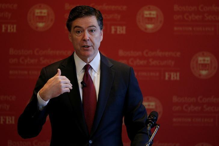 Giám đốc FBI James Comey phát biểu tại một hội nghị về an ninh mạng ở Boston, Massachusetts (Mỹ) ngày 8-3. Ảnh: REUTERS