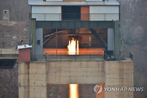 Một lần thử động cơ tên lửa của Triều Tiên. Ảnh: YONHAP