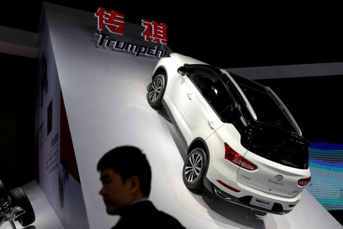 Ô tô Trumpchi GS4 của GAC Group trưng bày tại Triển lãm ô tô Thượng Hải, Trung Quốc ngày 20-4. Ảnh: REUTERS