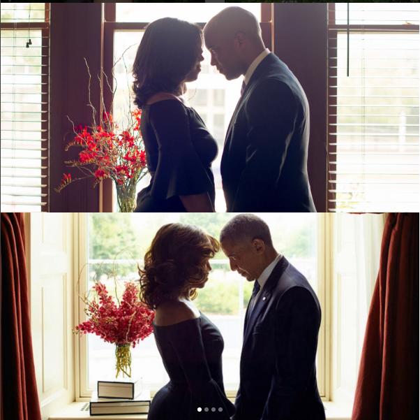 Bức ảnh cặp đôi Cassi và Adam (trên) tái hiện hình ảnh lãng mạn của vợ chồng Obama (dưới) được đăng trên TWITTER