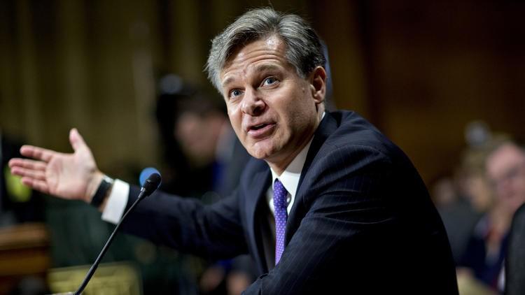 Giám đốc FBI Christopher Wray trong một phiên điều trần trước Thượng viện hồi tháng 7. Ảnh: REUTERS