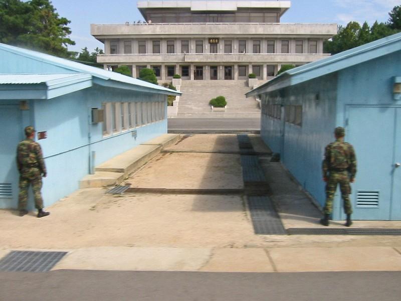 Làng đình chiến Bàn Môn Điếm trong khu phi quân sự liên Triều, nhìn từ phía Hàn Quốc. Ảnh: WIKIPEDIA