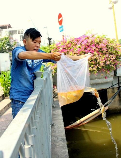 Cá chép vừa thả xuống kênh đã có người canh để bắt lại - ảnh 6