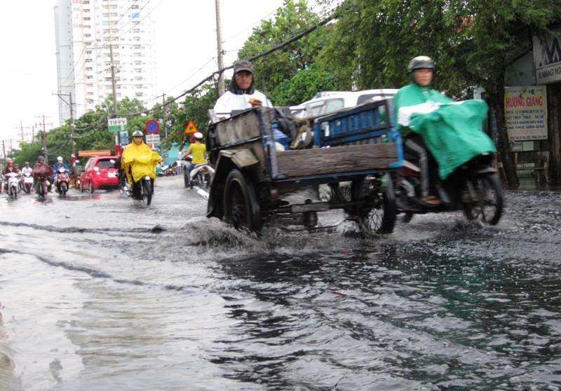 TP.HCM: Sau mưa, người dân bì bõm lội nước cống đen ngòm - ảnh 1
