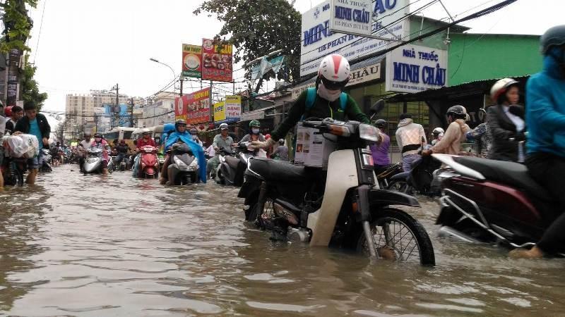 Sinh hoạt của người dân TP.HCM đảo lộn vì mưa lớn - ảnh 1
