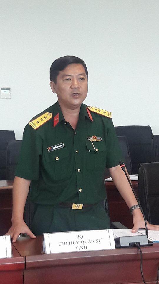thượng tá Nguyễn Hoàng Tấn- chủ nhiệm chính trị Bộ chỉ huy QS tỉnh BRVT