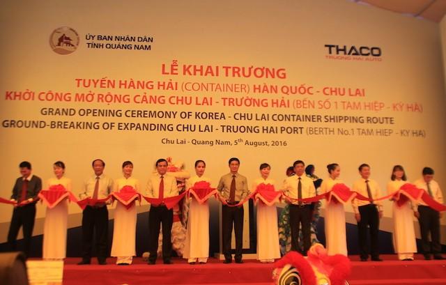 Khai trương tuyến hàng hải quốc tế Hàn Quốc-Chu Lai - ảnh 1