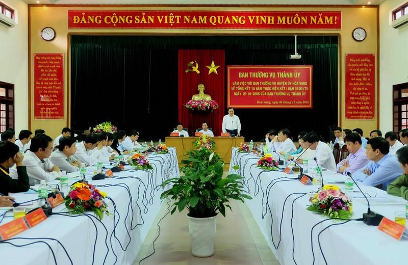 Chủ tịch UBND TP Đà Nẵng Huỳnh Đức Thơ nói về tương lai của TP và huyện Hoà Vang. Ảnh: LÊ PHI.