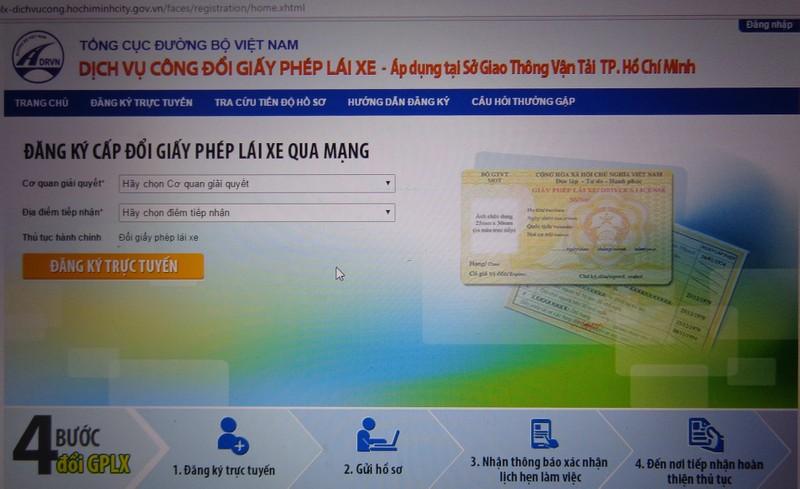Ngoài ra, người dân có thể đổi bằng qua mạng http://gplx-dichvucong.hochiminhcity.gov.vn