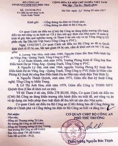 Vụ án Trịnh Xuân Thanh: Bộ Công an khởi tố 5 bị can - ảnh 1