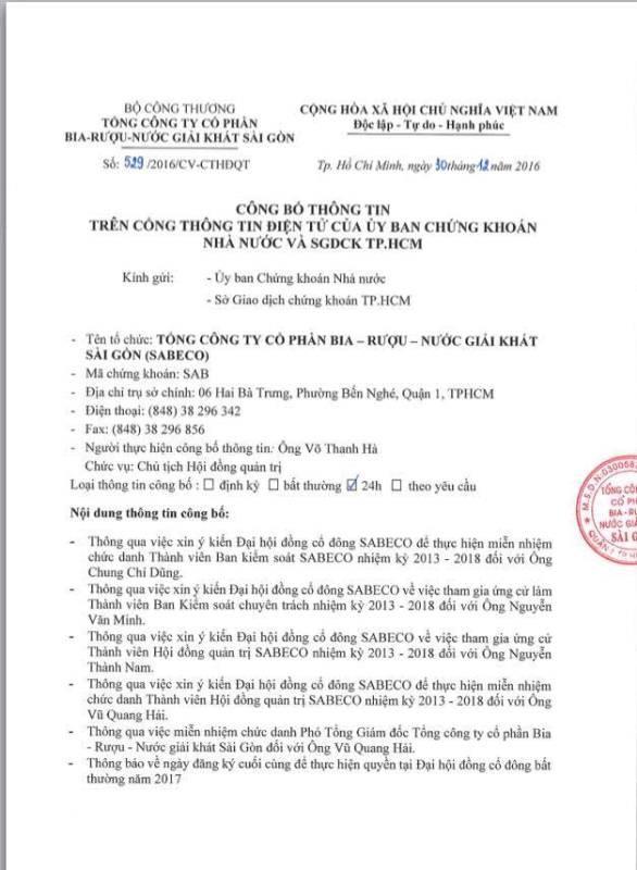 Sabeco gửi công văn về việc miễn nhiệm ông Vũ Quang Hải - ảnh 1