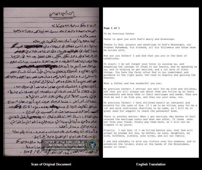 Bất ngờ phát hiện lá thư trùm khủng bố ủng hộ Tổng thống Mỹ - ảnh 1
