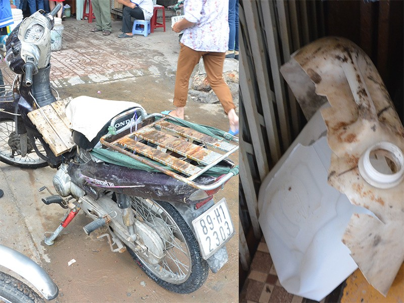 Chiếc xe máy cùng can loại 10 lít đựng axit
