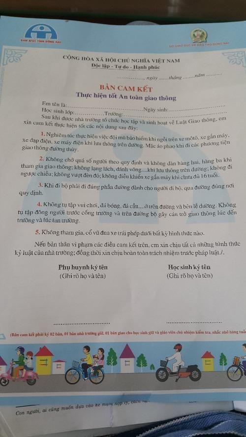Bắt học sinh lớp 1 ký văn bản cam kết giao thông - ảnh 1