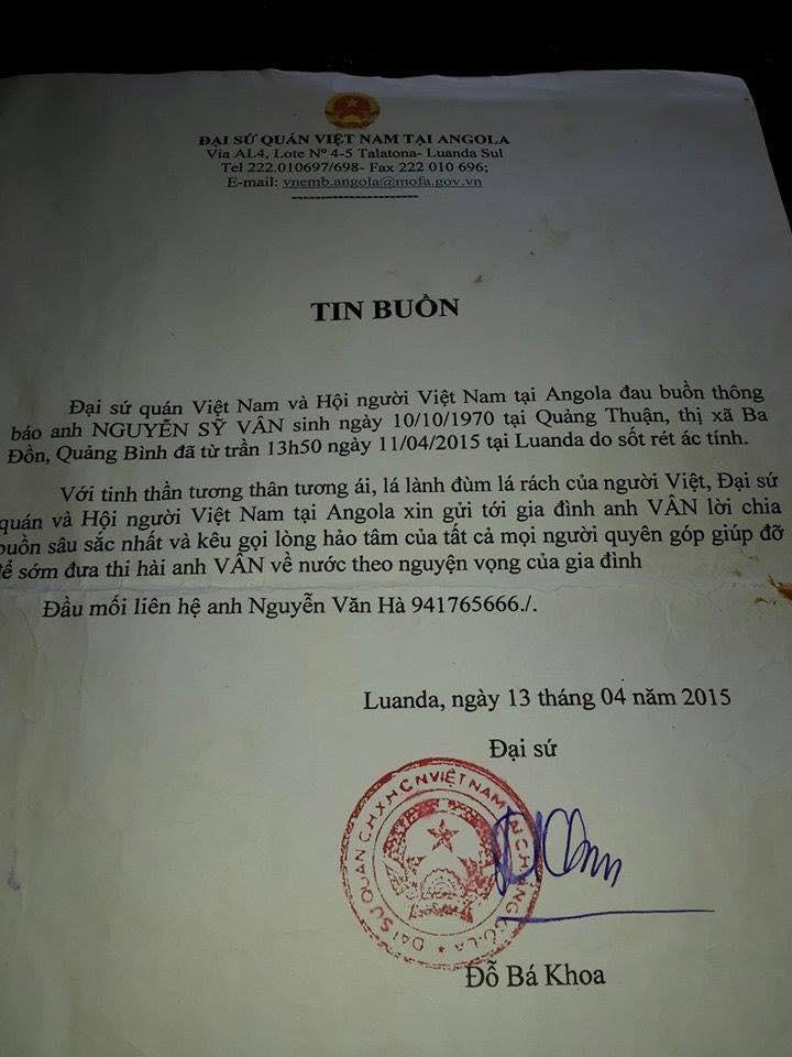 Thêm hai lao động người Việt tử vong ở Angola - ảnh 2