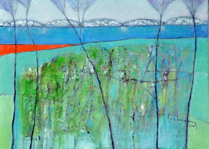 Bên sông Hương - tranh sơn dầu của Đinh Cường.
