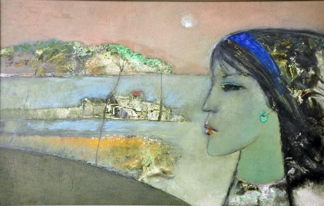 Cô gái Lý Sơn - tranh sơn dầu của Đinh Cường.