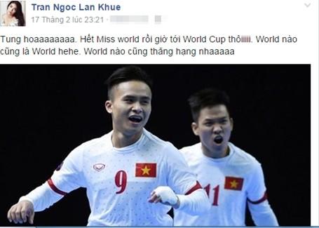 Lan Khuê vui mừng với chiến thắng của tuyển Việt Nam.