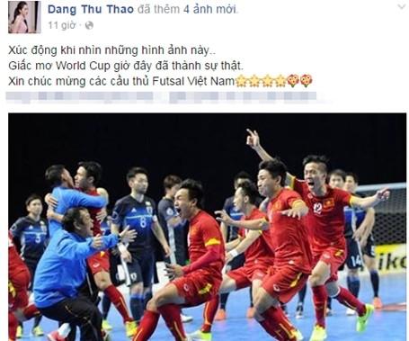 """""""Xúc động khi nhìn những hình ảnh này. Giấc mơ World Cup giờ đây đã thành sự thật. Xin chúc mừng các cầu thủ Futsal Việt Nam"""", Hoa hậu Đặng Thu Thảo chia sẻ khiến người hâm mộ bất ngờ."""