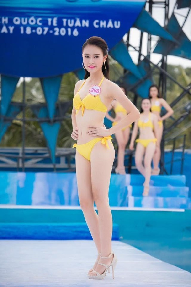 Cô cao 1m72, nặng 52 kg, số đo 3 vòng: 83-63-93. Số báo danh 268